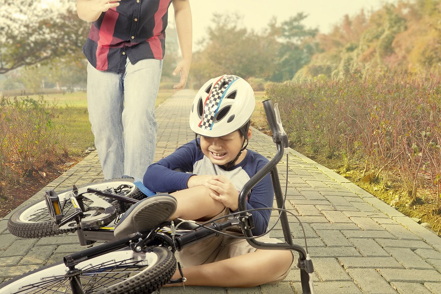 Child crying after falling from bicycle