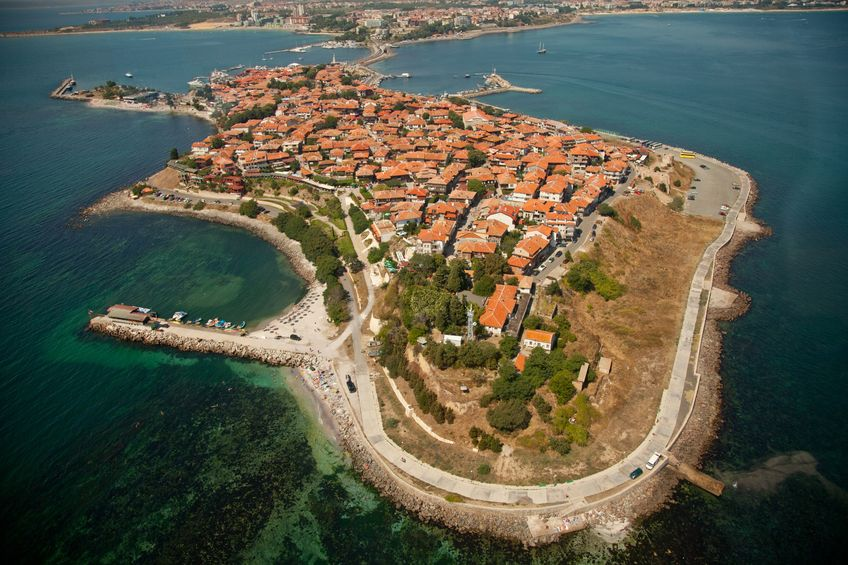 12284428 – old nessebar city, bulgaria, aerial view from helicopter